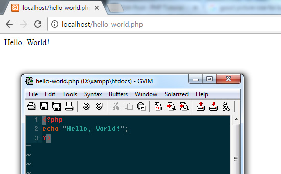 PHP Hello World Output