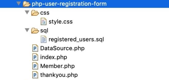 PHP User Registration File Structure
