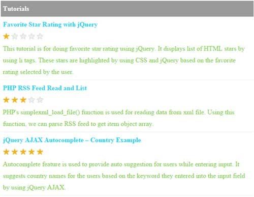 Dynamic Star Rating with PHP and jQuery - Phppot