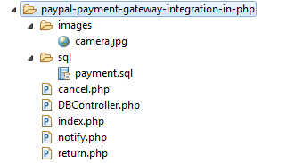 PayPal Payment Integration Example File Structure