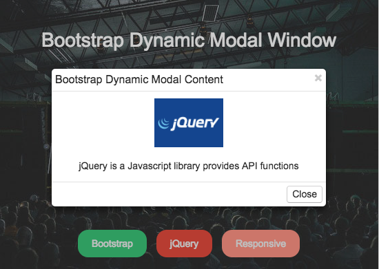 Loading Dynamic Content on a Bootstrap Modal using jQuery