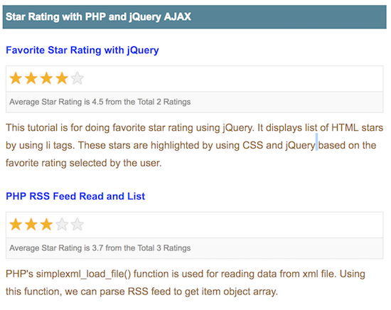 Star Rating with PHP and jQuery AJAX - Phppot