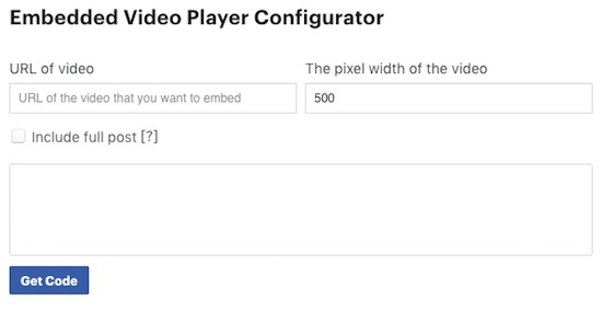 Facebook-Embedded-Video-Player-Configurator