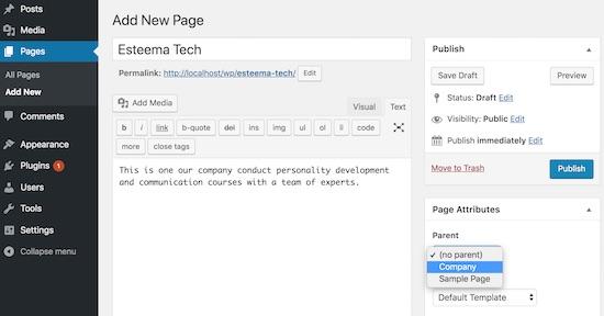 create-wordpress-child-page