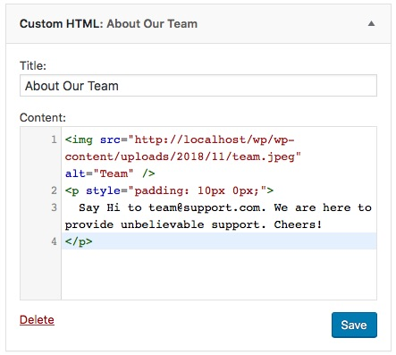 Add Image HTML with Custom HTML Widget