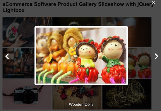 eCommerce Software Product Gallery Slideshow with jQuery Lightbox Output