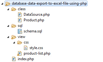 Export to Excel Example File Structure