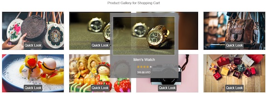 Shopping Cart Software Product Quick View with Bootstrap Tooltip Output