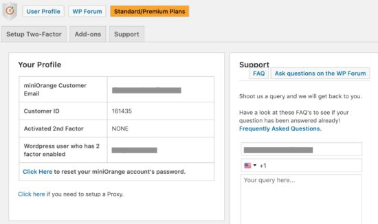 WordPress two-factor authentication miniOrange User Profile Page