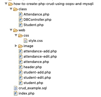 File Structure to Create PHP CRUD Example