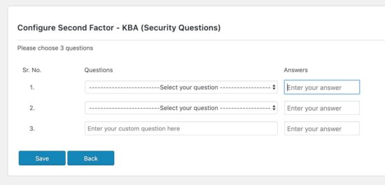 Set Two-Factor with Security Questions