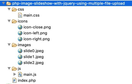 PHP Image Slideshow Example File Structure