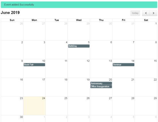 AJAX Based Event Management System Output