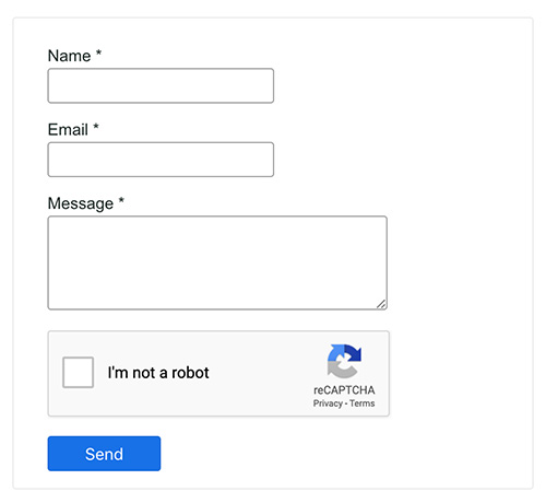 contact form with Google captcha