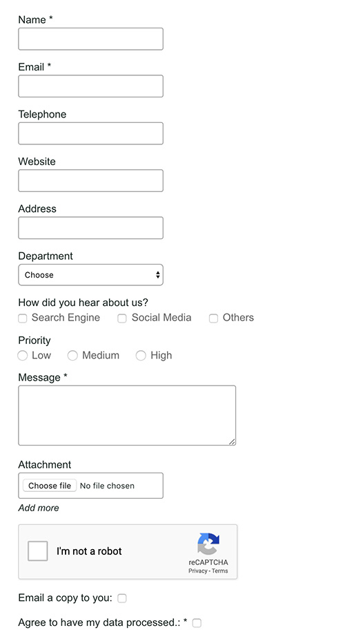 contact form with all fields