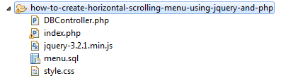 Horizontal Scrolling Menu File Structure