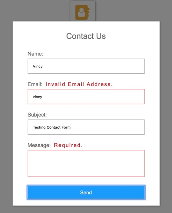 Contact Form Popup Output