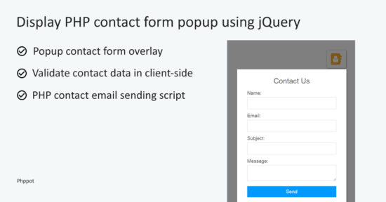 How Display PHP Contact Form Dialog using jQuery
