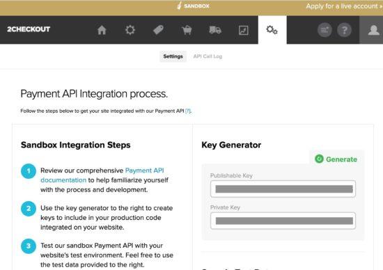 2Checkout Payment API Keys