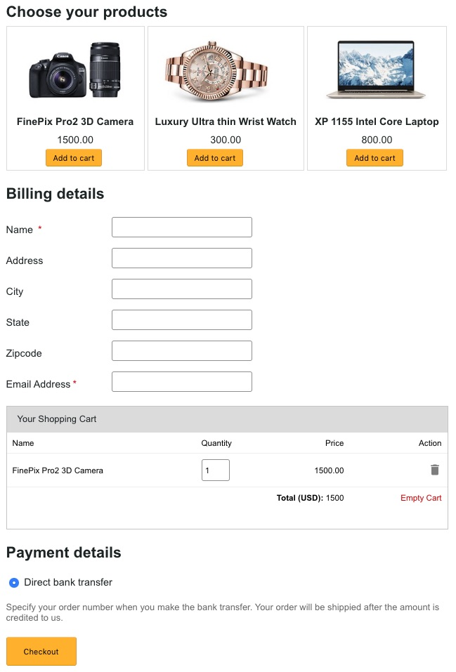 One Page Checkout Example Output