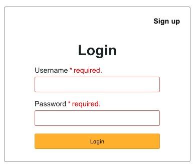 User Login Form Output