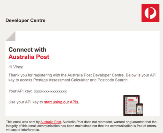 Getting API Key from Auspost