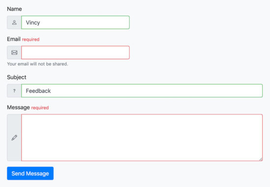 Bootstrap Contact Form Output