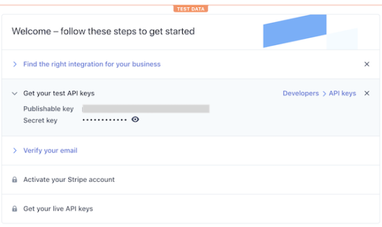 Get Stripe API Keys
