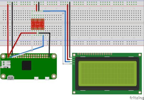 Raspberry Pi LCD2004 I2C Circuit