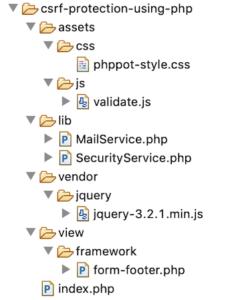 Anti CSRF Token Code File Structure