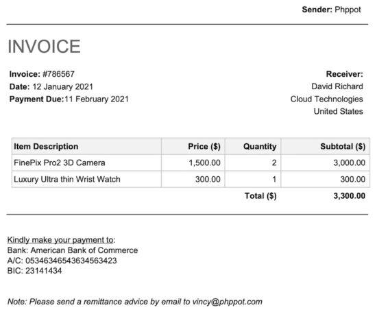 Invoice PDF Screenshot