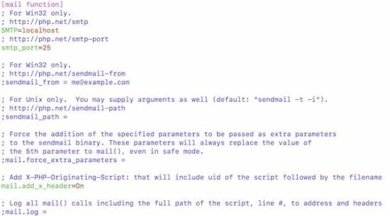 sendmail in php config